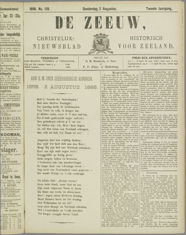 De Zeeuw. Christelijk-historisch nieuwsblad voor Zeeland 1888-08-02