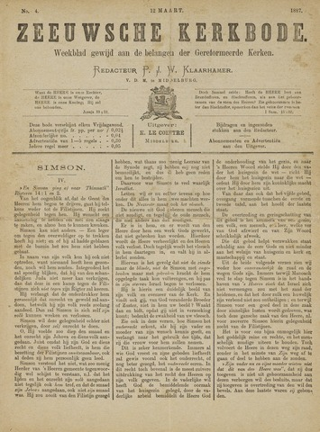 Zeeuwsche kerkbode, weekblad gewijd aan de belangen der gereformeerde kerken/ Zeeuwsch kerkblad 1887-03-12
