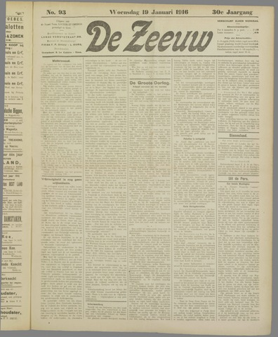 De Zeeuw. Christelijk-historisch nieuwsblad voor Zeeland 1916-01-19
