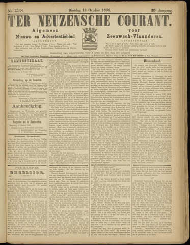 Ter Neuzensche Courant. Algemeen Nieuws- en Advertentieblad voor Zeeuwsch-Vlaanderen / Neuzensche Courant ... (idem) / (Algemeen) nieuws en advertentieblad voor Zeeuwsch-Vlaanderen 1896-10-13
