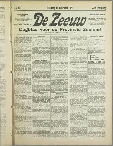 De Zeeuw. Christelijk-historisch nieuwsblad voor Zeeland 1929-02-19