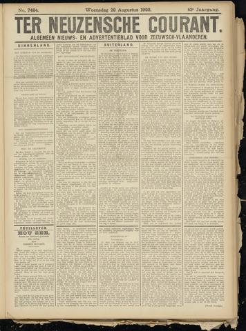 Ter Neuzensche Courant. Algemeen Nieuws- en Advertentieblad voor Zeeuwsch-Vlaanderen / Neuzensche Courant ... (idem) / (Algemeen) nieuws en advertentieblad voor Zeeuwsch-Vlaanderen 1923-08-22