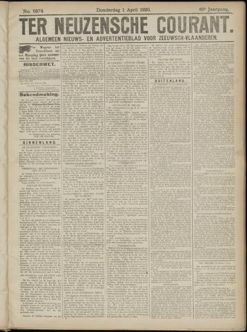 Ter Neuzensche Courant. Algemeen Nieuws- en Advertentieblad voor Zeeuwsch-Vlaanderen / Neuzensche Courant ... (idem) / (Algemeen) nieuws en advertentieblad voor Zeeuwsch-Vlaanderen 1920-04-01