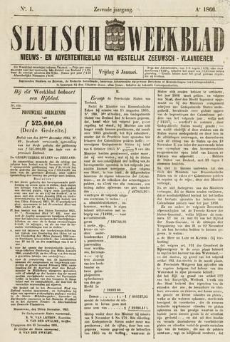Sluisch Weekblad. Nieuws- en advertentieblad voor Westelijk Zeeuwsch-Vlaanderen 1866