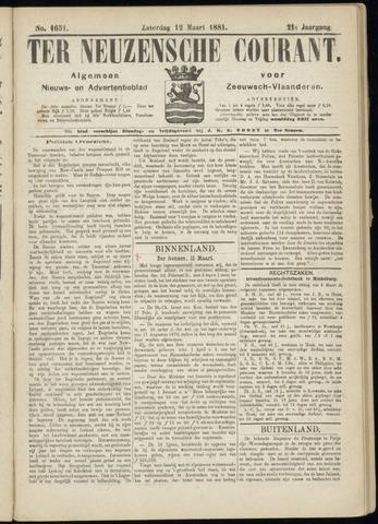 Ter Neuzensche Courant. Algemeen Nieuws- en Advertentieblad voor Zeeuwsch-Vlaanderen / Neuzensche Courant ... (idem) / (Algemeen) nieuws en advertentieblad voor Zeeuwsch-Vlaanderen 1881-03-12