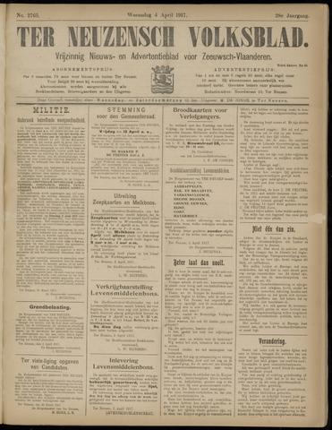 Ter Neuzensch Volksblad. Vrijzinnig nieuws- en advertentieblad voor Zeeuwsch- Vlaanderen / Zeeuwsch Nieuwsblad. Nieuws- en advertentieblad voor Zeeland 1917-04-04