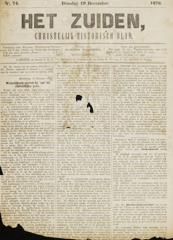 Het Zuiden, Christelijk-historisch blad 1876-12-19