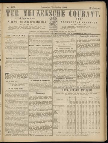 Ter Neuzensche Courant. Algemeen Nieuws- en Advertentieblad voor Zeeuwsch-Vlaanderen / Neuzensche Courant ... (idem) / (Algemeen) nieuws en advertentieblad voor Zeeuwsch-Vlaanderen 1903-10-29