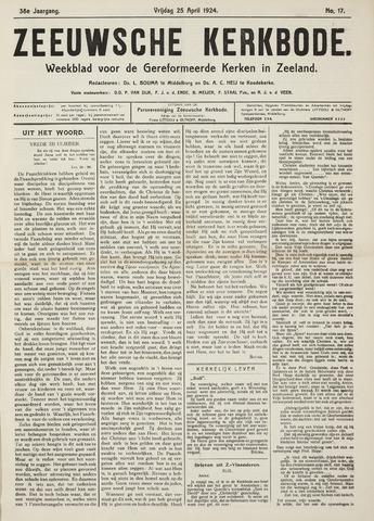 Zeeuwsche kerkbode, weekblad gewijd aan de belangen der gereformeerde kerken/ Zeeuwsch kerkblad 1924-04-25