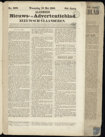 Ter Neuzensche Courant. Algemeen Nieuws- en Advertentieblad voor Zeeuwsch-Vlaanderen / Neuzensche Courant ... (idem) / (Algemeen) nieuws en advertentieblad voor Zeeuwsch-Vlaanderen 1866-05-23