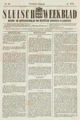 Sluisch Weekblad. Nieuws- en advertentieblad voor Westelijk Zeeuwsch-Vlaanderen 1873-02-04