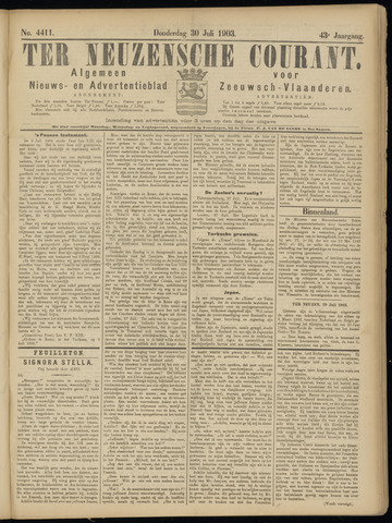 Ter Neuzensche Courant. Algemeen Nieuws- en Advertentieblad voor Zeeuwsch-Vlaanderen / Neuzensche Courant ... (idem) / (Algemeen) nieuws en advertentieblad voor Zeeuwsch-Vlaanderen 1903-07-30
