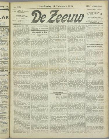 De Zeeuw. Christelijk-historisch nieuwsblad voor Zeeland 1918-02-14