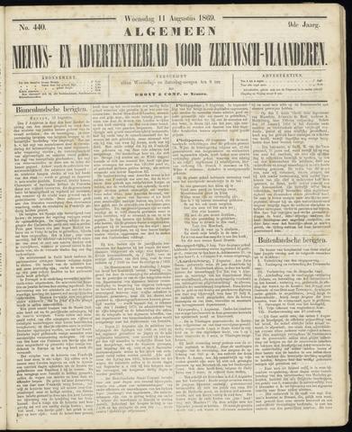 Ter Neuzensche Courant. Algemeen Nieuws- en Advertentieblad voor Zeeuwsch-Vlaanderen / Neuzensche Courant ... (idem) / (Algemeen) nieuws en advertentieblad voor Zeeuwsch-Vlaanderen 1869-08-11