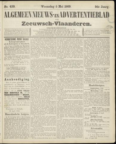Ter Neuzensche Courant. Algemeen Nieuws- en Advertentieblad voor Zeeuwsch-Vlaanderen / Neuzensche Courant ... (idem) / (Algemeen) nieuws en advertentieblad voor Zeeuwsch-Vlaanderen 1869-05-05