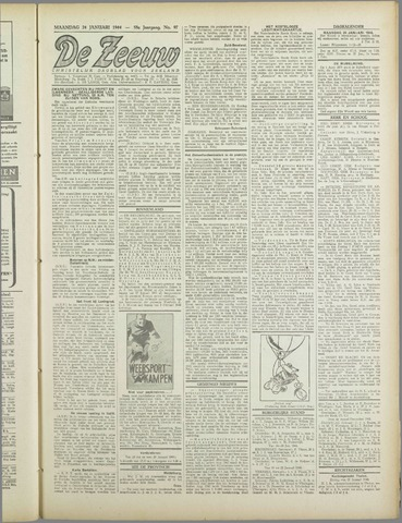 De Zeeuw. Christelijk-historisch nieuwsblad voor Zeeland 1944-01-24
