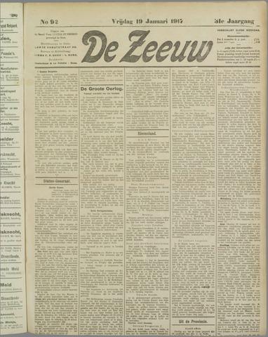 De Zeeuw. Christelijk-historisch nieuwsblad voor Zeeland 1917-01-19