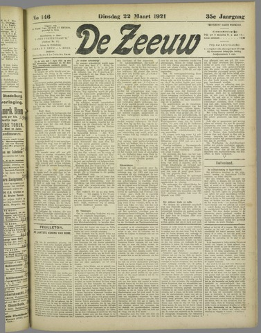 De Zeeuw. Christelijk-historisch nieuwsblad voor Zeeland 1921-03-22