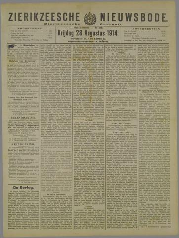 Zierikzeesche Nieuwsbode 1914-08-28