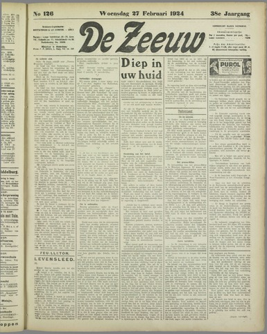 De Zeeuw. Christelijk-historisch nieuwsblad voor Zeeland 1924-02-27
