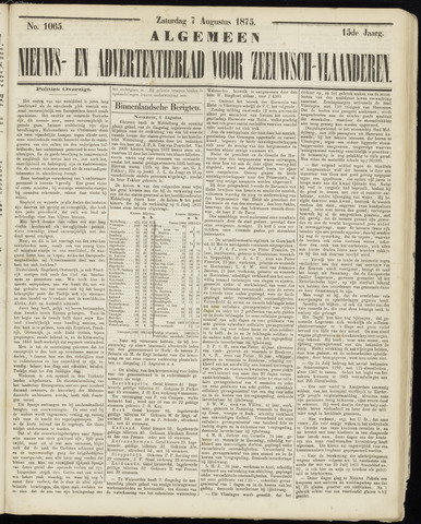 Ter Neuzensche Courant. Algemeen Nieuws- en Advertentieblad voor Zeeuwsch-Vlaanderen / Neuzensche Courant ... (idem) / (Algemeen) nieuws en advertentieblad voor Zeeuwsch-Vlaanderen 1875-08-07