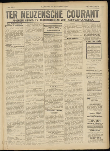 Ter Neuzensche Courant. Algemeen Nieuws- en Advertentieblad voor Zeeuwsch-Vlaanderen / Neuzensche Courant ... (idem) / (Algemeen) nieuws en advertentieblad voor Zeeuwsch-Vlaanderen 1930-08-25