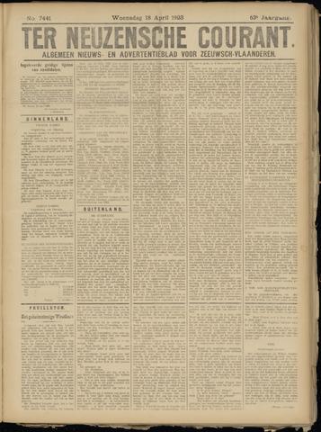 Ter Neuzensche Courant. Algemeen Nieuws- en Advertentieblad voor Zeeuwsch-Vlaanderen / Neuzensche Courant ... (idem) / (Algemeen) nieuws en advertentieblad voor Zeeuwsch-Vlaanderen 1923-04-18