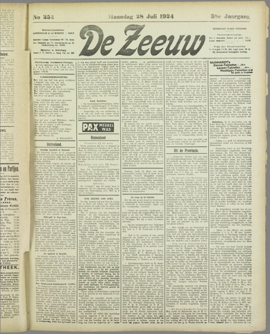 De Zeeuw. Christelijk-historisch nieuwsblad voor Zeeland 1924-07-28