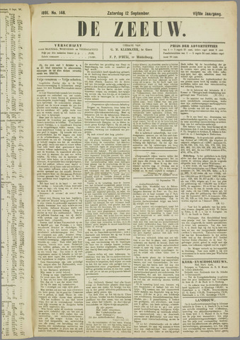 De Zeeuw. Christelijk-historisch nieuwsblad voor Zeeland 1891-09-12