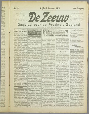 De Zeeuw. Christelijk-historisch nieuwsblad voor Zeeland 1929-11-08