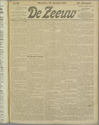 De Zeeuw. Christelijk-historisch nieuwsblad voor Zeeland 1917-01-22