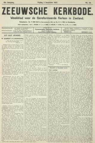 Zeeuwsche kerkbode, weekblad gewijd aan de belangen der gereformeerde kerken/ Zeeuwsch kerkblad 1927-12-02