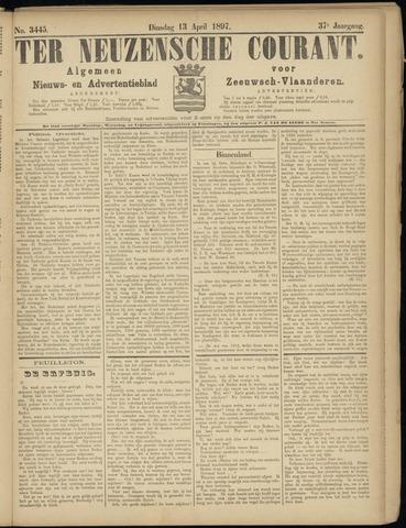 Ter Neuzensche Courant. Algemeen Nieuws- en Advertentieblad voor Zeeuwsch-Vlaanderen / Neuzensche Courant ... (idem) / (Algemeen) nieuws en advertentieblad voor Zeeuwsch-Vlaanderen 1897-04-13