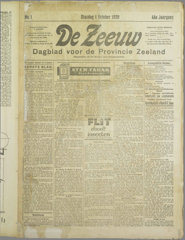 De Zeeuw. Christelijk-historisch nieuwsblad voor Zeeland 1929-10-01