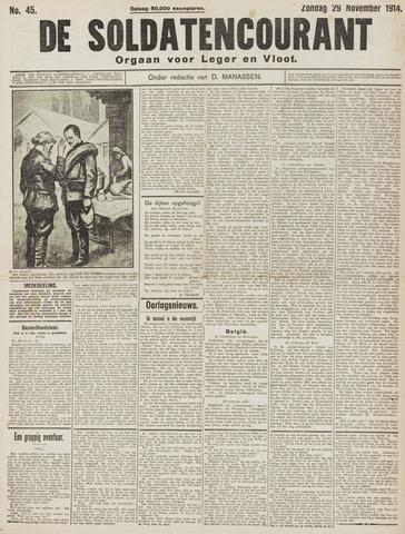 De Soldatencourant. Orgaan voor Leger en Vloot 1914-11-29