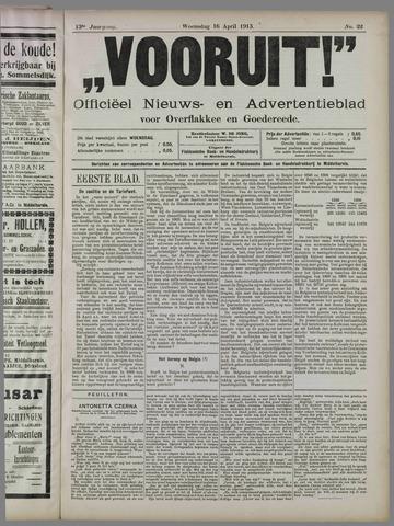 """""""Vooruit!""""Officieel Nieuws- en Advertentieblad voor Overflakkee en Goedereede 1913-04-16"""