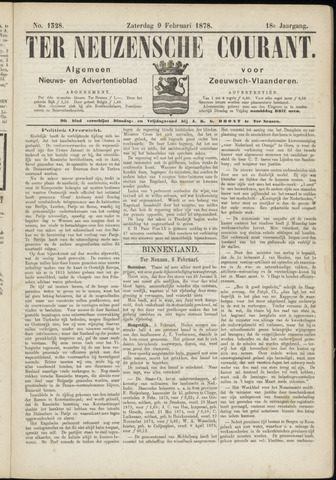 Ter Neuzensche Courant. Algemeen Nieuws- en Advertentieblad voor Zeeuwsch-Vlaanderen / Neuzensche Courant ... (idem) / (Algemeen) nieuws en advertentieblad voor Zeeuwsch-Vlaanderen 1878-02-09