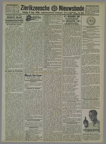 Zierikzeesche Nieuwsbode 1930-08-08