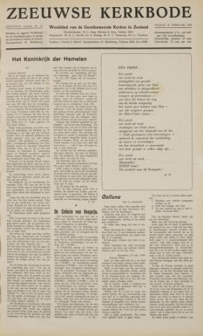 Zeeuwsche kerkbode, weekblad gewijd aan de belangen der gereformeerde kerken/ Zeeuwsch kerkblad 1958-02-21
