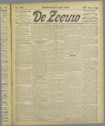 De Zeeuw. Christelijk-historisch nieuwsblad voor Zeeland 1919-04-03
