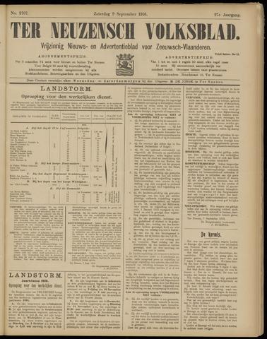 Ter Neuzensch Volksblad. Vrijzinnig nieuws- en advertentieblad voor Zeeuwsch- Vlaanderen / Zeeuwsch Nieuwsblad. Nieuws- en advertentieblad voor Zeeland 1916-09-09