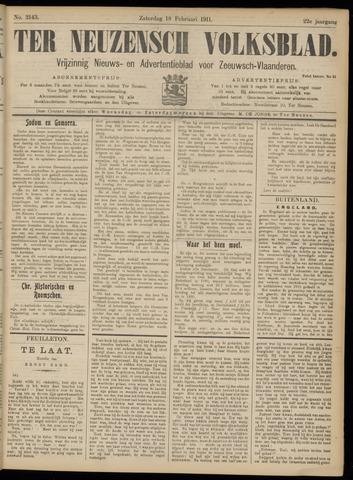 Ter Neuzensch Volksblad. Vrijzinnig nieuws- en advertentieblad voor Zeeuwsch- Vlaanderen / Zeeuwsch Nieuwsblad. Nieuws- en advertentieblad voor Zeeland 1911-02-18