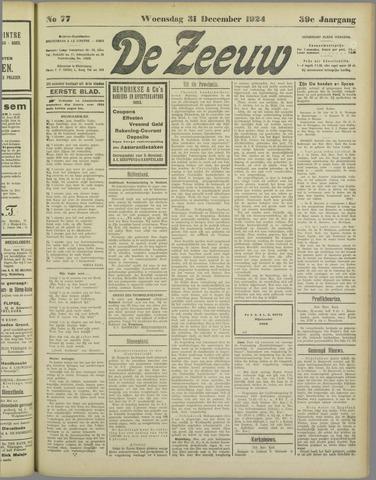 De Zeeuw. Christelijk-historisch nieuwsblad voor Zeeland 1924-12-31