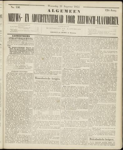 Ter Neuzensche Courant. Algemeen Nieuws- en Advertentieblad voor Zeeuwsch-Vlaanderen / Neuzensche Courant ... (idem) / (Algemeen) nieuws en advertentieblad voor Zeeuwsch-Vlaanderen 1872-08-21