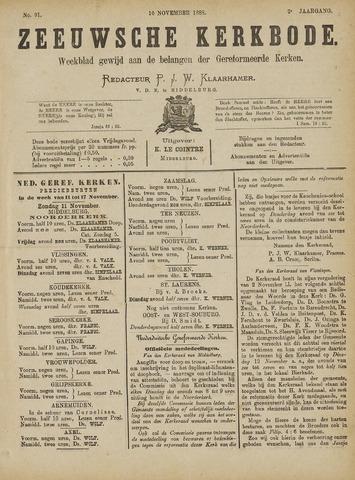 Zeeuwsche kerkbode, weekblad gewijd aan de belangen der gereformeerde kerken/ Zeeuwsch kerkblad 1888-11-10