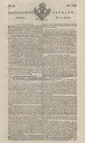 Middelburgsche Courant 1764-01-14