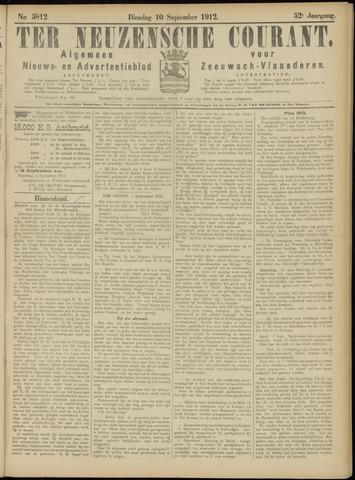Ter Neuzensche Courant. Algemeen Nieuws- en Advertentieblad voor Zeeuwsch-Vlaanderen / Neuzensche Courant ... (idem) / (Algemeen) nieuws en advertentieblad voor Zeeuwsch-Vlaanderen 1912-09-10