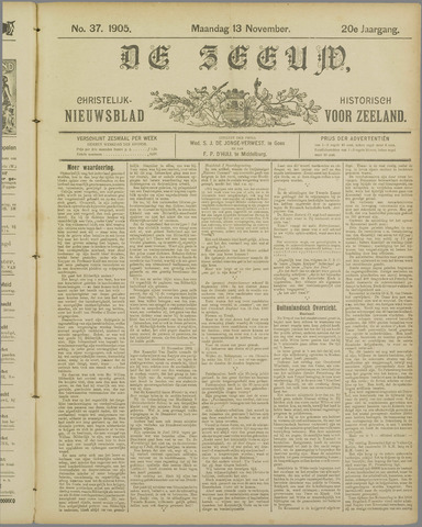 De Zeeuw. Christelijk-historisch nieuwsblad voor Zeeland 1905-11-13