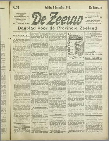 De Zeeuw. Christelijk-historisch nieuwsblad voor Zeeland 1930-11-07