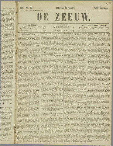 De Zeeuw. Christelijk-historisch nieuwsblad voor Zeeland 1891-01-24
